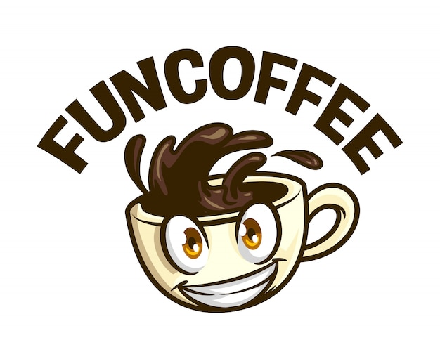 Logo sorridente della mascotte del carattere della tazza di caffè divertente del fumetto