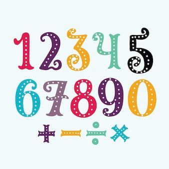 Numeri colorati divertenti dell'illustrazione del fumetto da 0 a 9