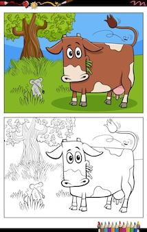 Cartone animato divertente mucca sul pascolo pagina del libro da colorare