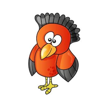 Cartone animato divertente uccello carino su sfondo bianco