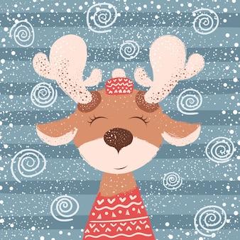 Cartone animato buffo cervo. illustrazione invernale