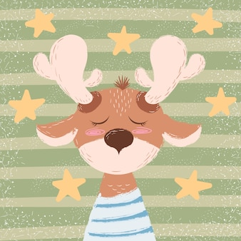 Cartone animato buffo cervo