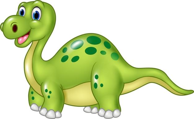 Dinosauro divertente del fumetto isolato su fondo bianco