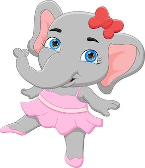 Cartone animato divertente elefante ballerina su sfondo bianco