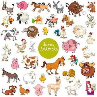Set di caratteri animali fattoria divertenti del fumetto