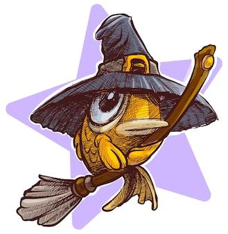Pesce volante divertente del fumetto con i grandi occhi sulla scopa in cappello della strega. cartolina di vettore di halloween con stella sullo sfondo.