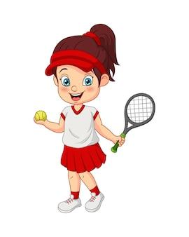 Ragazza divertente del fumetto che gioca tennis