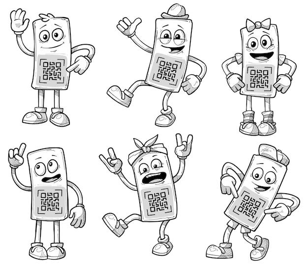 Personaggi dei cartoni animati divertenti occhiali con acqua ed emozioni allegre. codice qr per la scansione. ragazzo e ragazza, intelligenti e rocker. schizzo di icone vettoriali impostato su priorità bassa bianca.