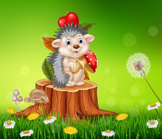 Istrice divertente del fumetto che si siede sul ceppo di albero