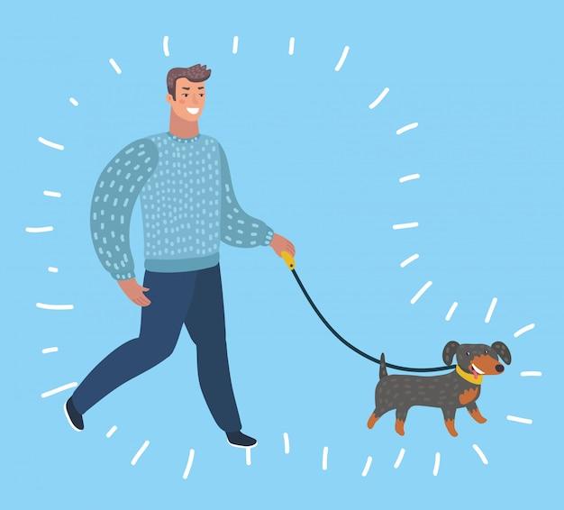 Cartone animato divertente illuatration di dog walk - man walking. personaggi in stile moderno su bacground blu isolato.