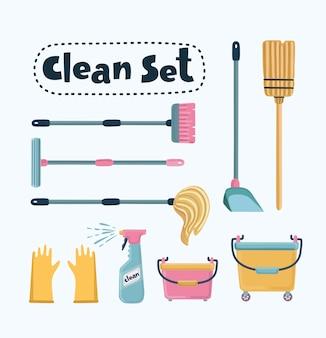 Fumetto illustrazione divertente del set di pulizia