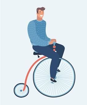 Cartone animato divertente illustrazione del ragazzo moderno sulla retro illustrazione vintage vecchia bicicletta