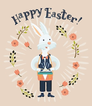 Cartone animato divertente illustrazione del coniglio bianco che suona il tamburo
