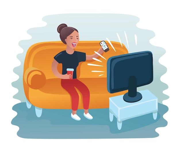 Cartone animato divertente illustrazione della donna seduta sul divano e guardare la tv