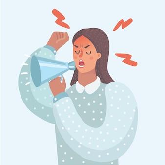 Cartone animato divertente illustrazione della donna con il megafono fa l'annuncio con l'altoparlante