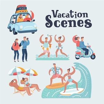 Cartone animato divertente illustrazione della coppia di giovani turisti