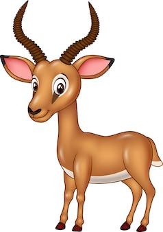 Impala divertente del fumetto isolata su fondo bianco