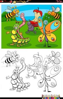 Cartone animato divertente gruppo di insetti da colorare pagina del libro