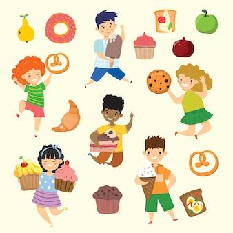 Cartoon divertenti bambini amici fast food - coockie, waffle, ciambella, pretzel, croissant, gelato in stile piatto