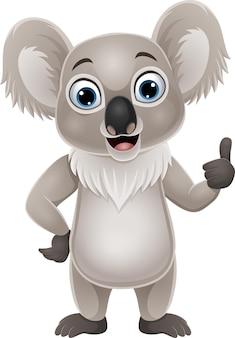 Koala divertente del fumetto che dà pollice in su