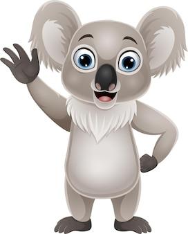 Cartone animato divertente koala agitando la mano