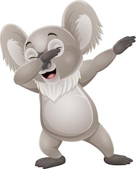 Cartone animato divertente piccolo koala tamponando danza