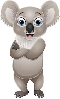 Cartone animato divertente piccolo koala in posa