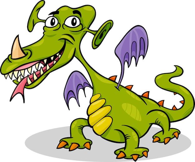 Fumetto divertente mostro o illustrazione di drago