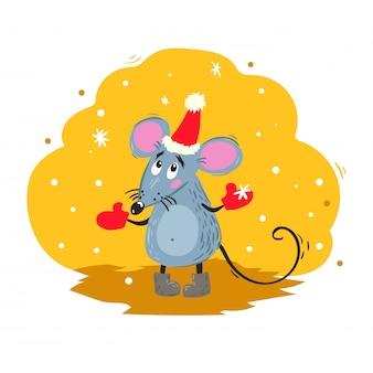Il topo divertente del fumetto in cappello della santa osserva i fiocchi di neve. simbolo cinese anno 2020. mascotte comica. carattere di ratto o topo. animale roditore.