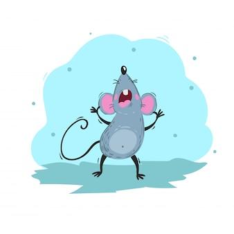 Mouse divertente del fumetto che canta una canzone. simbolo cinese anno 2020. mascotte comica urla. carattere di ratto o topo. animale roditore.