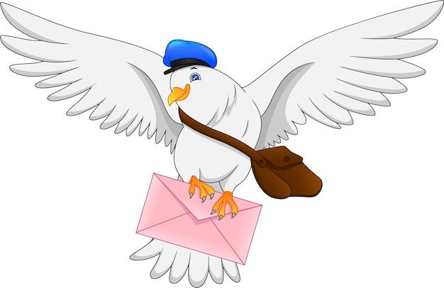 Uccello divertente del piccione del fumetto che trasporta la lettera