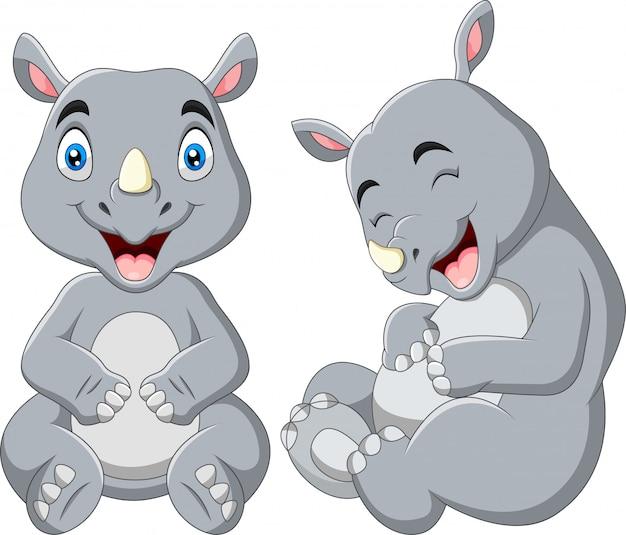 Il rinoceronte divertente del fumetto sta ridendo