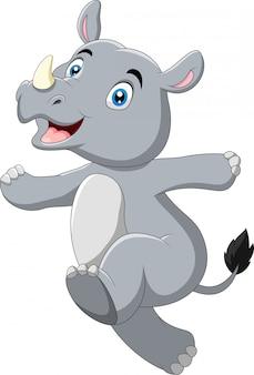 Funzionamento divertente di posa di rinoceronte del fumetto
