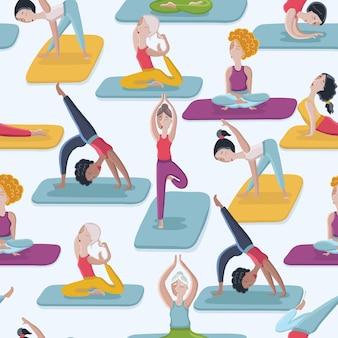 Cartone animato divertente seamles yoga pone sfondo modello senza soluzione di continuità