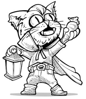 Gatto vampiro spettrale divertente del fumetto in capo con i canini che tengono la carota e la lampada. schizzo in bianco e nero di vettore di halloween.