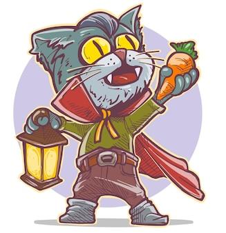 Gatto vampiro spettrale divertente del fumetto in capo con i canini che tengono la carota e la lampada. vettore di halloween su sfondo viola.