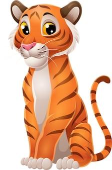 Seduta divertente della tigre del fumetto isolata