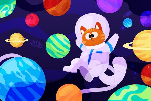 Sfondo di galassia del fumetto cartoon Vettore Premium