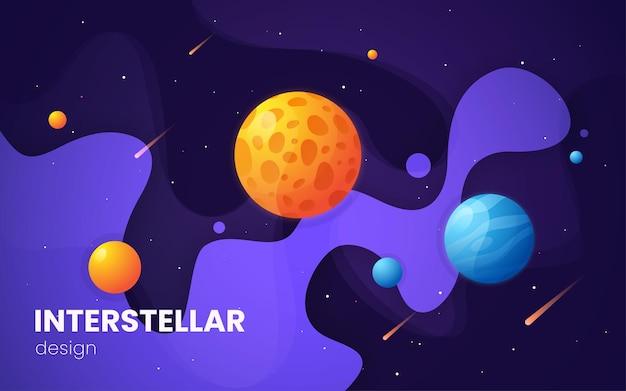 Illustrazione futuristica dello spazio cosmico della galassia del fumetto