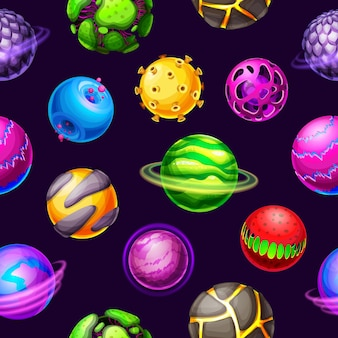 Pianeti della galassia del fumetto e modello senza cuciture delle stelle dello spazio. pianeti fantasy, meteore e asteroidi universo spaziale con anelli orbitali, aloni luminosi, crateri e magma, cosmico