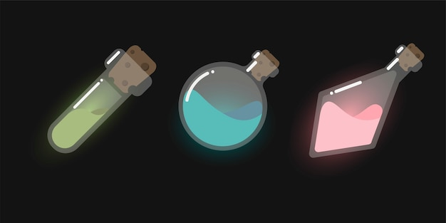 Elementi di interfaccia di gioco del fumetto per gioco mobile, icona del gioco di elisir magico, boccette di vetro, bottiglie.