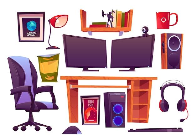 Raccolta di elementi di concetto di cartone animato gioco streamer