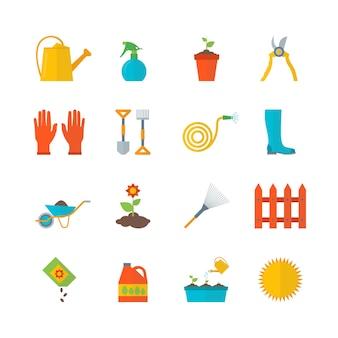 Le icone di colore dell'attrezzatura da giardinaggio del fumetto hanno messo l'elemento dell'azienda agricola di disegno di stile piano. illustrazione vettoriale