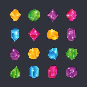 Gemme di cartone animato. pietre preziose gioielli diamanti topazio pietra smeraldo rubino zaffiro occhiata vetro trasparente brillante isolato icone premio ui
