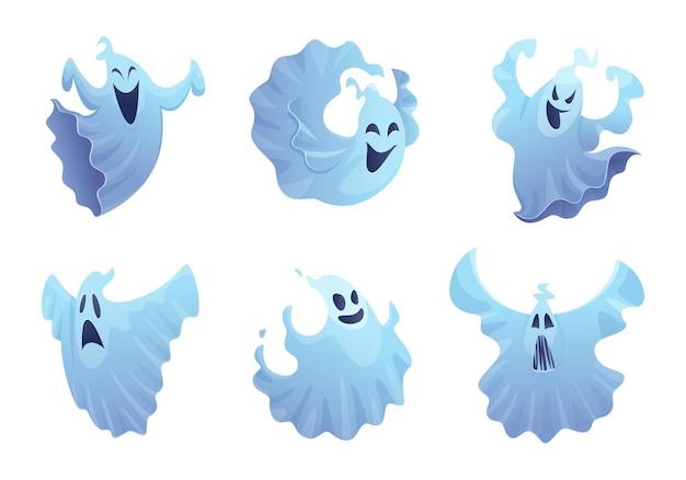 Fantasma dei cartoni animati. amico sorriso spettrale buster simboli di halloween raccolta spaventosa di vettore. sorriso fantasma di halloween, illustrazione grafica spaventosa e spettrale