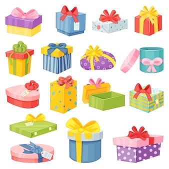 Scatole regalo di cartoni animati, confezioni regalo avvolte con fiocchi. regali colorati in varie forme per il set di vettore di festa di compleanno o di natale. cartoni di auguri con nastri per le feste