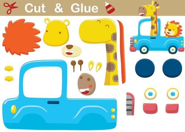 Cartone animato di giraffa con leone sul camion. gioco di carta educativo per bambini. ritaglio e incollaggio