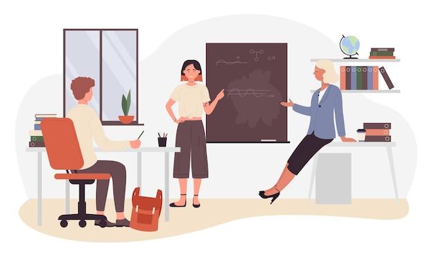 Personaggio dei cartoni animati ragazza studiando in piedi dalla lavagna di classe