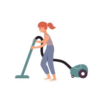 Ragazza del fumetto che fa i lavori domestici usando un aspirapolvere, bambino felice dello zenzero che aiuta a pulire la casa aspirando il pavimento, illustrazione di vettore isolata piana