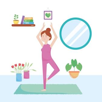 Ragazza cartone animato facendo yoga in casa su sfondo bianco